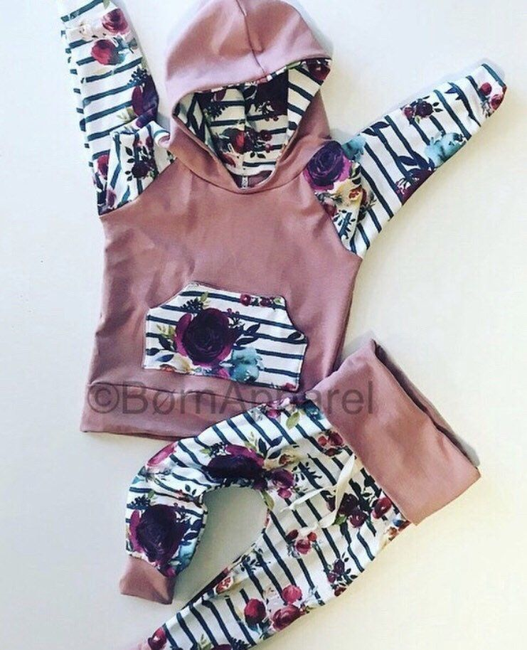 Photo of Baby girl floral clothes, handmade baby girl clothes, boho, mauve, cute baby girl clothes, to…